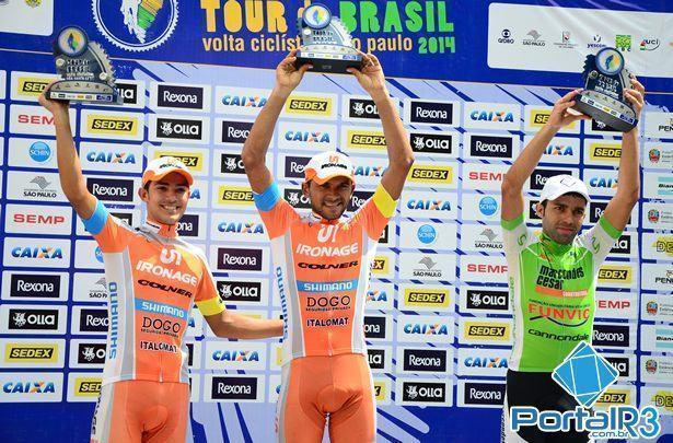 Pódio da sexta etapa do Tour do Brasil de Ciclismo. (Foto: Luis Claudio Antunes/PortalR3)