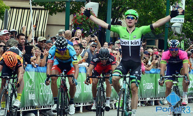 Atleta da Belkin comemora vitória na 1ª etapa do Tour of Utah. (Foto: Luis Claudio Antunes/PortalR3)