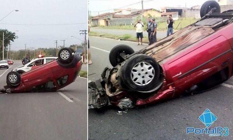 A motorista do veículo capotado, com alguns ferimentos, recebeu atendimento no local pela guarnição dos Bombeiros. (Foto: Vânia Ribeiro/Internauta)