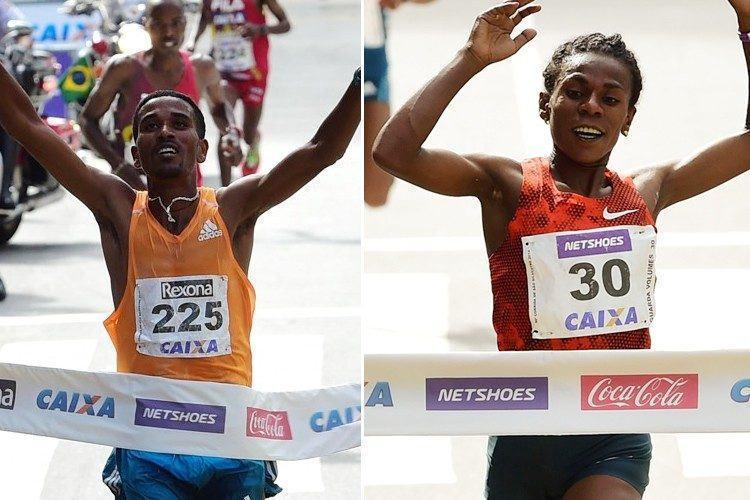 Dawit Admasu venceu no masculino e Ymer Ayalew ficou com o bi no feminino. (Fotos: Djalma Vassão/Gazeta Press)