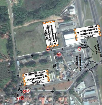 As interdições acontecem para que a empresa Comgás faça a relocação da estação redutora de pressão, que está sob a rotatória. (Foto: Google/Divulgação PMT)