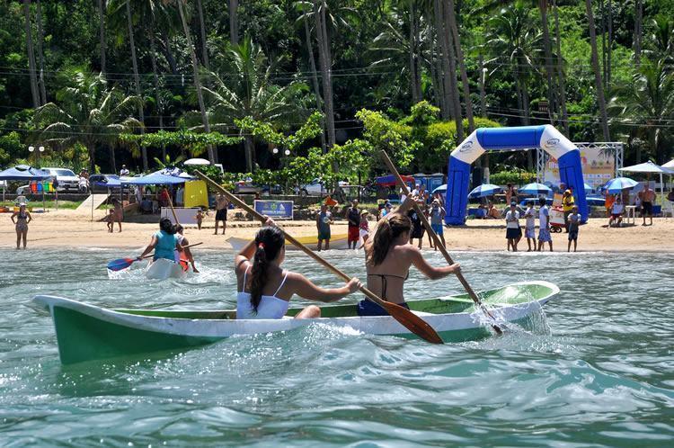 a programação do evento engloba as modalidades, canoa caiçara, vela, beach soccer, capoeira, vôlei, canoagem, natação, beach rugby e sup (Foto: Silas Azocar/PMI)