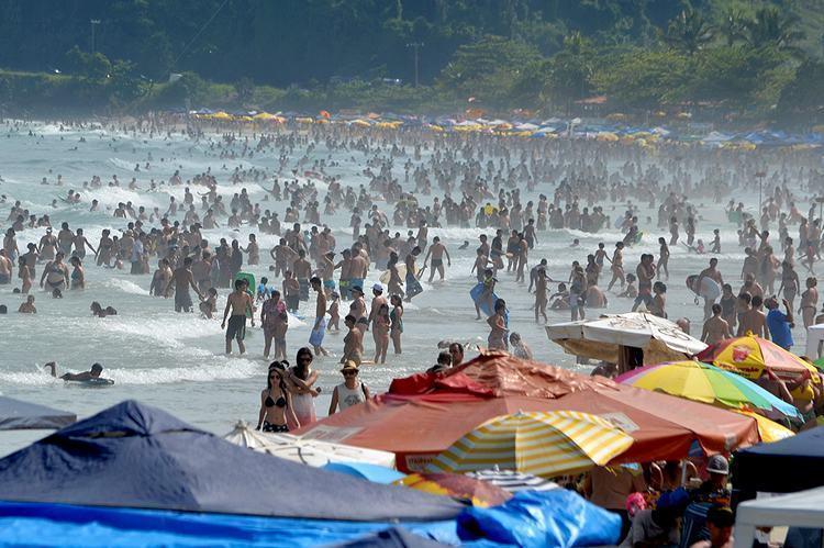 Praia Grande, região central, na tarde desta terça-feira, dia 6 de janeiro (Foto: Divulgação/PMU)