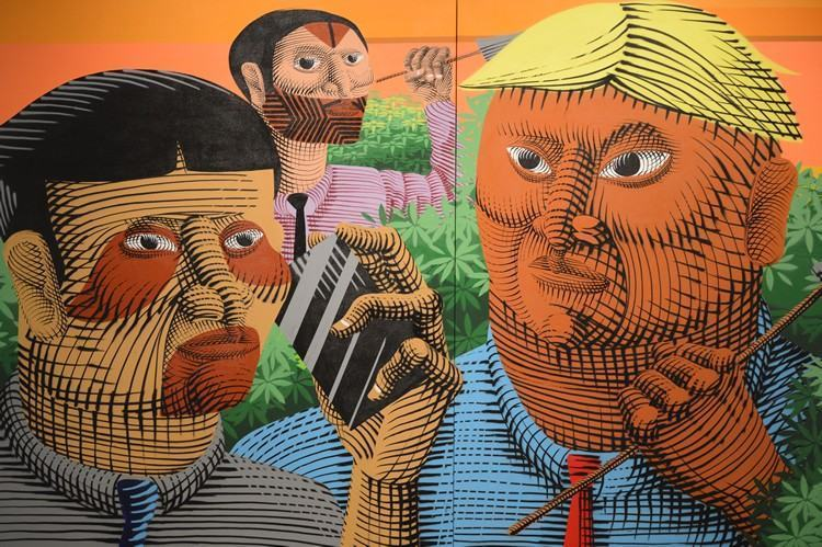 São obras de brasileiros e de representantes da Inglaterra, Itália, França, dos Estados Unidos e de Portugal, que traçam um panorama da arte das ruas no mundo. (Foto: Fabio Rodrigues Pozzebom/ Agência Brasil)