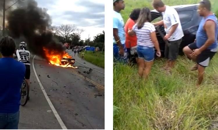 Curiosos observam veículos envolvidos no acidente. (Foto: Reprodução/Facebook)