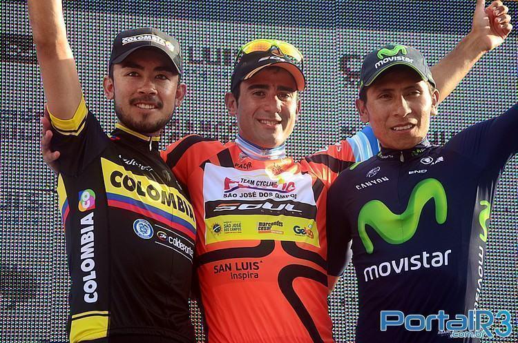 Pódio final do 9º Tour de San Luis, com Dani Díaz, Rodolfo Torres e Nairo Quintana. (Foto: Luis Claudio Antunes/PortalR3)