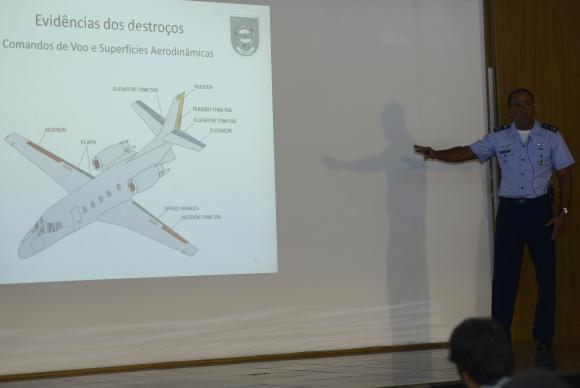 O tenente-coronel-aviador Raul de Souza apresenta dados sobre a investigação do acidente com a aeronave que vitimou o ex-governador de Pernambuco Eduardo Campos e mais seis pessoas; (Foto:  José Cruz/Agência Brasil)