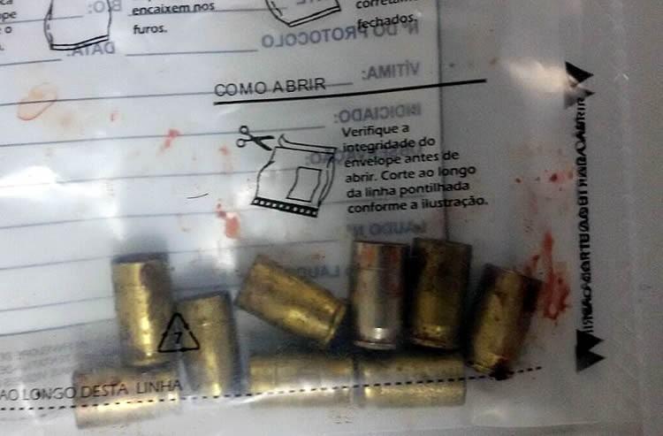 Munições deflagradas encontradas pela polícia no local do crime. (Foto: Polícia Civil/Divulgação)