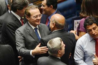 Renan Calheiros (PMDB/AL) é eleito para o segundo mandato à frente do Senado. (Foto: Antônio Cruz/Agência Brasil)