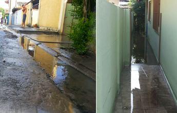 Vazamento provocou alagamento em corredor de casa do bairro. (Foto: Divulgação/Fábio Monteiro/Internauta)
