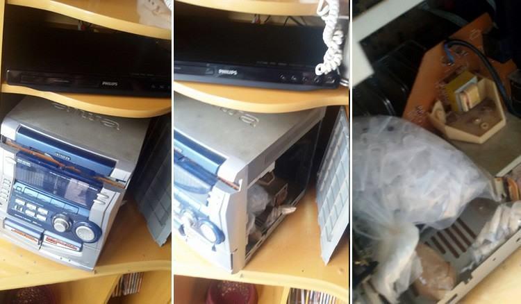 Drogas foram encontradas dentre de um aparelho de som. (Foto: Polícia Civil de Pindamonhangaba)