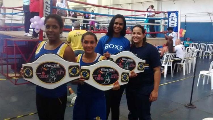 Beatriz Gomes e Dayanne dos Santos são integrantes do Atleta Cidadão. E Maiara Gonçalves (camiseta azul) da equipe principal. (Foto: divulgação)