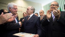 Temer recebe de Moreira Franco proposta do PMDB para  a  reforma. (Foto:   Marcelo Camargo/Agência Brasil)