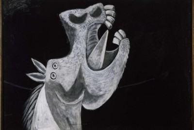 """O desenho Cabeza de caballo. Boceto para """"Guernica"""", um dos esboços de Picasso para o painel Guernica, faz parte da exposição que começa terça-feira em São Paulo. ( Succession/Divulgação)"""