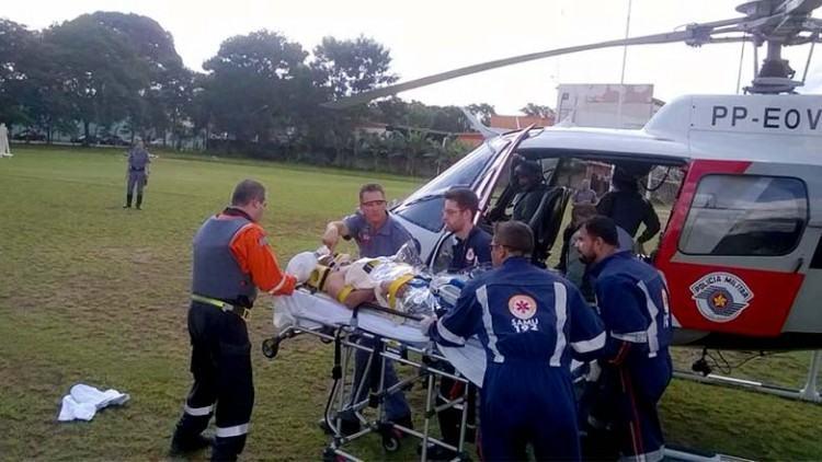 O primeiro resgate pré-hospitalar aéreo integrado ao SAMU ocorreu no bairro Vila Nova São José, na região central de São José. (Foto: Divulgação)