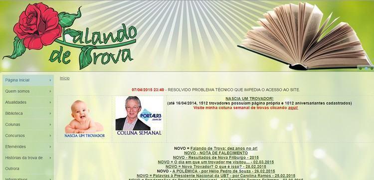 Tela inicial do site Falando de Trova. (Foto: reprodução)