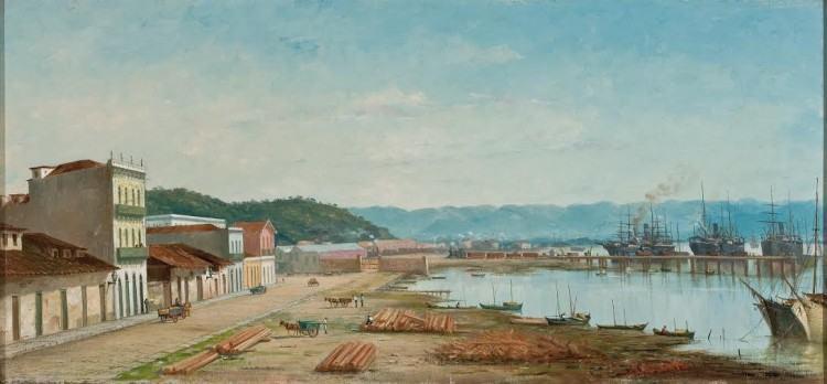 BENEDITO CALIXTO, Rampa do Porto do Bispo em Santos (1900) participa da exposição Arte do Brasil até 1900, a partir de 26/3 no 2º subsolo do MASP. (Foto: reprodução/divulgação/MASP)