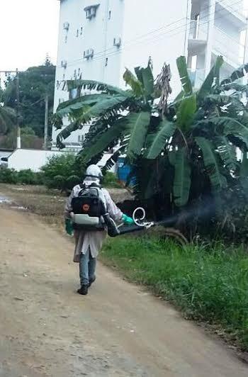 Na última semana, a equipe de nebulização esteve no bairro da Enseada, costa sul, e nesta semana atua na comunidade do Jardim Carolina, região central. (Foto: Divulgação/PMU)