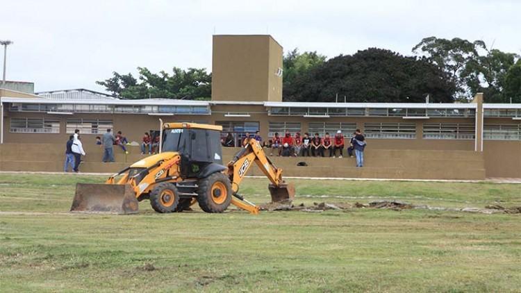 As obras começaram na manhã de quarta-feira, dia 6, no Poliesportivo do Campo dos Alemães (Rua Walter Dellu), na região sul da cidade. (Foto: Beto Faria/PMSJC)
