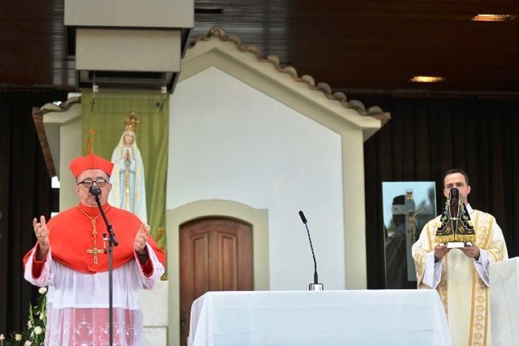 O Cardeal Arcebispo de Aparecida, Dom Raymundo Damasceno Assis, presidiu a celebração. (Foto: Thiago Leon/Santuário de Aparecida)