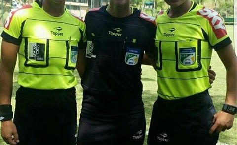Trio de arbitragem de Pinda no jogo do Brasileiro Feminino